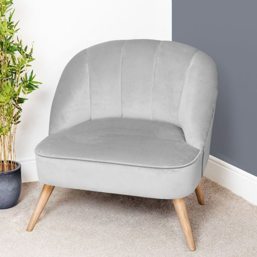 Cool Grey Velvet Occasional Lounge or Bedroom Chair
